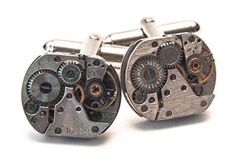 Herren Manschettenknöpfe im Uhrwerk-Design Steampunk-Stil silberfarben Vintage 16mm