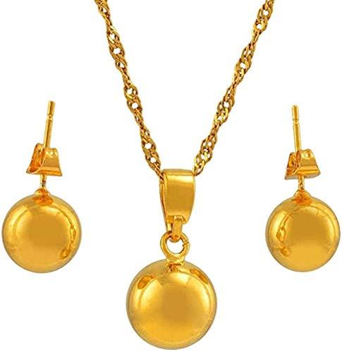 Conjunto de joyas de abalorios Collar Collares Pendientes Bolas redondas de color dorado Joyas para mujeres Niñas Los mejores regalos Collar Longitud 60Cm Cadena fina