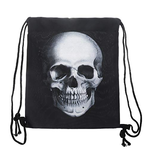 suoryisrty Waterproof Drawstring Sport Bag-Unisex Waterproof String Drawstring Backpack 3D skull Print Sack Gym School Shoe Bag,33 x 39cm