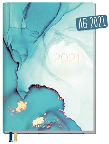 Chäff-Timer Mini A6 Kalender 2021 [Smaragd Gold] mit 1 Woche auf 2 Seiten | Terminplaner, Wochenkalender, Organizer, Terminkalender mit Wochenplaner | nachhaltig & klimaneutral