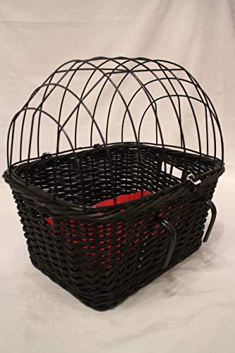 Marcus´ Weidenhandel Hundefahrradkorb für Fahrradlenker aus Weide mit Metallgitter und Kissen in Schwarz Lenkrad Weidenkorb (mit Kissen)