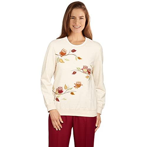 Alfred Dunner Womens Petite Owl Embroidered Top, Oatmeal, PXL