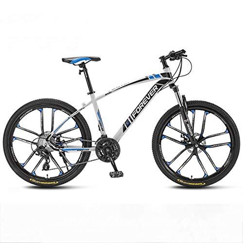 Huashao Mountain Bike 21/24/27/30 Speed Double Disc Brake System Mountain Bike 27.5 Inches Wheels Bicycle (White, Red, Blue,Black),B2,30