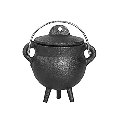 "Cauldron -3.5"" Cast Iron Cauldron with Lid and Handle - Perfect Incense Smudge Kit Sage Holder Altar Ritual Burning Holder"