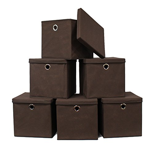 Pezin & Hulin 6 Pack Foldable Storage Cubes with Lid and Metal Eyelet Handle, Fabric Storage Bins 11 x 11 x 11 inch, Collapsible Basket Box Container, Cloth Organizer for Shelves, Closet, (Brown)