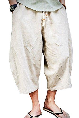 KAMUON Mens Casual Baggy Cotton Linen Pocket Lounge Harem Pants Beach Long Shorts (US XL = Asian Tag 4XL : Waist 37'-39', Beige)