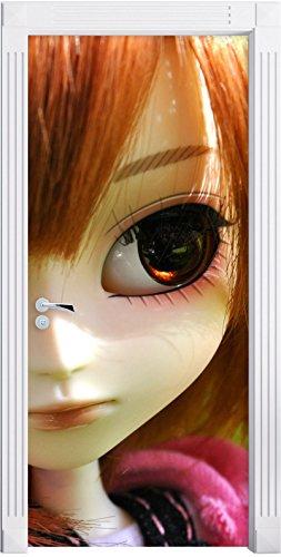 Stil.Zeit Möbel Tendre Pullip-Doll sur Le Vert Prairie d'été comme Mural, Format: 200x90cm, Cadre de Porte, Porte Autocollants, décoration de Porte, Porte Autocollants