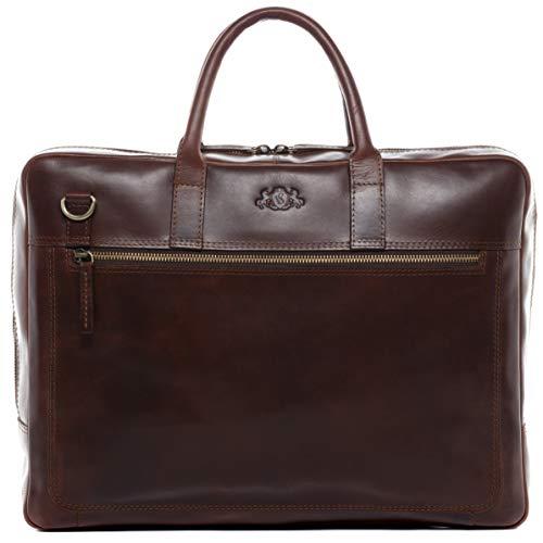 SID & VAIN Laptoptasche echt Leder Dixon große Businesstasche 15.6 Zoll Laptop Umhängetasche Aktentasche Laptopfach Ledertasche Unisex braun
