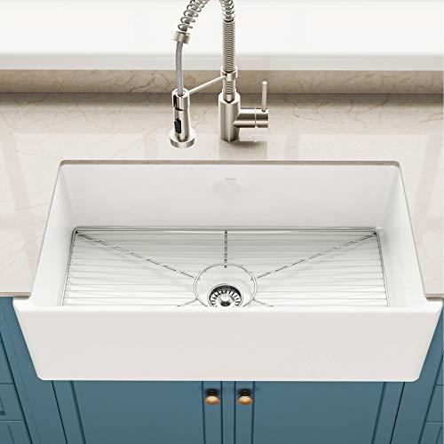 Kraus KFR1-33GWH Turino 33-inch Fireclay Farmhouse Apron Reversible Single Bowl Kitchen Sink
