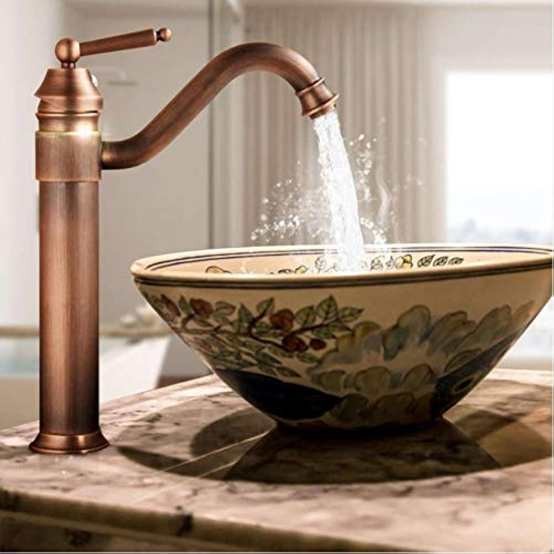 Zlxzlx Kupfer Finish Antike Bad Becken Wasserhahn Mischbatterie Kalt- Und Warmwasser Keramik Wasserhahn Deck Montiert Luxus Europa Stil