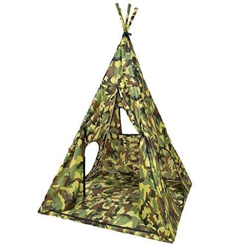 ZPHWH-E HWH Indian Tent, Boy's Camouflage Teepee Infant Indoor Play Tent 4-corner Tent for Kindergarten Kids - 98*98*140CM - Children Over 3 Years Old Game house ( Color : A , Size : 98*98*140CM )