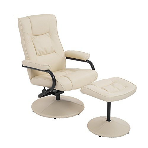 HOMCOM Ergonomic Faux Leather Lounge Armchair Recliner and Ottoman Set - Cream White
