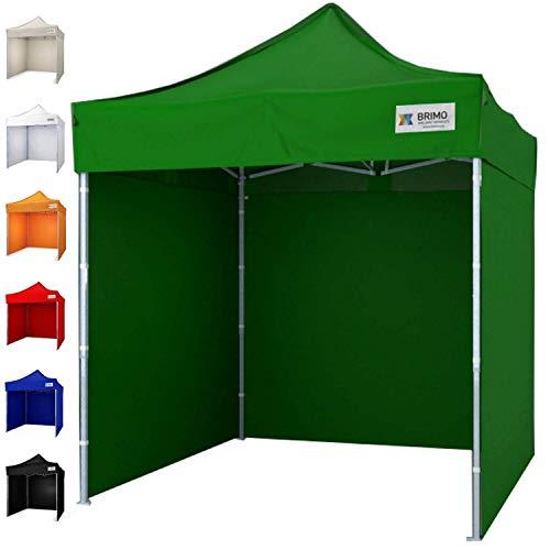Partyzelt mit 3 Wänden mit Schutzhülse BRIMO Super Stahl (2x2m, Grün)