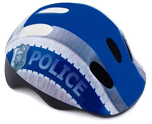 Spokey Fahrradhelm Kinder Schutzhelm mit integriertem Visier | Kinderfahrradhelm Belüftungsöffnungen | verstellbare Größe | Kopfumfang 44-48cm 49-56cm (Defence Police, 44-48)