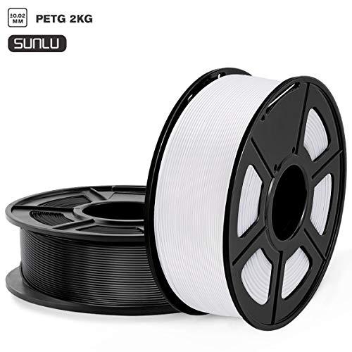SUNLU Filamento PETG 1.75mm 2kg Impresora 3D Filamento, Precisión Dimensional +/- 0.02 mm, PETG Negro + blanco