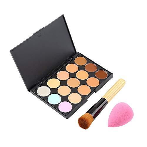 15 Color Pro Concealer Face Primer Cream Contour Palette Makeup Corrector Base Palette Sponge Puff Powder Brush - Multicolor
