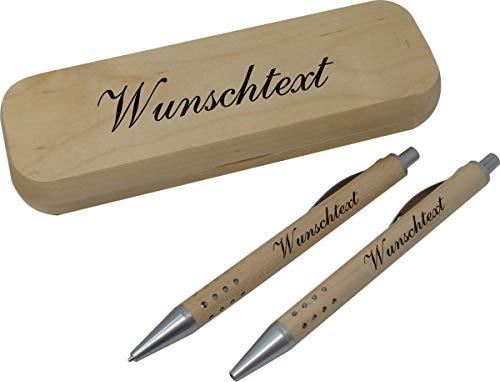 sehr schönes 2-tlg.Schreibset Druckkugelschreiber und Rollerball in einem Etui aus Holz inkl. Lasergravur