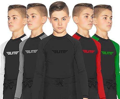 Elite Sports Rash Guards for Boys and Girls, Full Sleeve Compression BJJ Kids and Youth Rash Guard (Black, Medium)