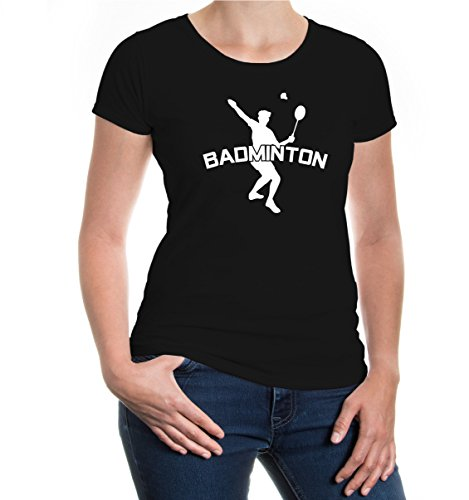 Girlie T-Shirt Badminton-M-black-white
