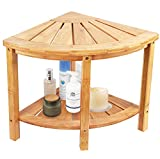 Ybj-ake Corner Shower Bench & Seat & Stool with 2-Tire Storage Shelf, Durable & Stable Indoor and Outdoor Bench with 100% Bamboo (Brown)