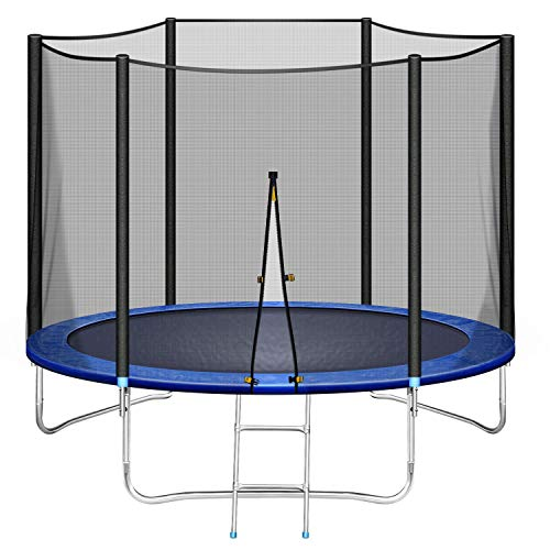 8FT Trampoline with Enclosure for Adults & Kids, 264 LBS Capacity, Exercise Fitness Rebounder Jumping Indoor Outdoor w Ladder