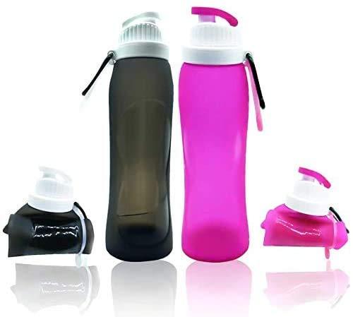 lingye Wasserflasche Faltbare Silikon Trinkflasche Lebensmittelsicherheits-Materialien Ungiftig und geschmacklos BPA-frei und Weichmacher Für Outdoor und Freizeit 500ml * 2pcs(Rosa und schwarz)