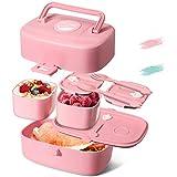 Godmorn Lunchbox für Kinder, Bento Box mit 3 fächern, Brotdose mit Griff - Besteck Aus Weizenstroh Reisfasern, BPA-Frei, Nachhaltig, Spülmaschinenfest, Mikrowellenfest (Rosa)
