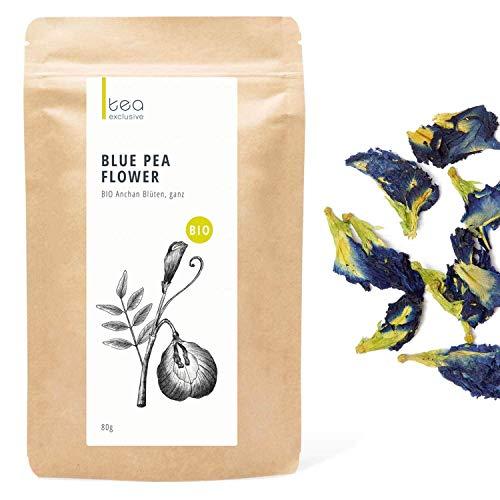 BIO Blue Pea Blauer Tee, ganze Anchan Blüten, Butterfly Pea Flower, Premium BIO-Qualität handgepflückt, 80g Beutel - tea exclusive