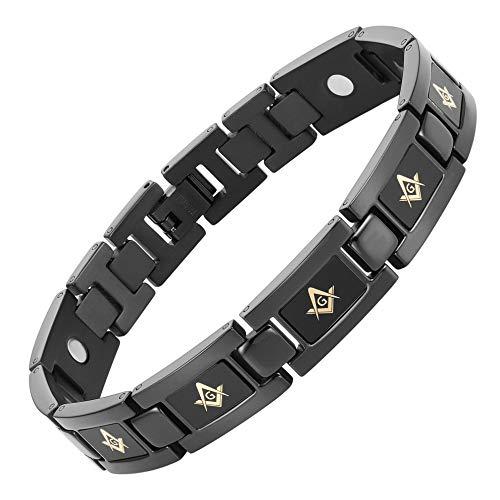 MasonicMan Black Titanium Freemasonry Gold Masonic Magnetic Bracelet with Adjusting Tool and Gift Box