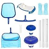 Aiglam Pool Reinigungsset, 7 PCS Pool Zubehör Aufsatz Set zur, Pool Kescher Netz mit Kescher Netz, Dosierschwimmer, Bürste &Aluminium Rohre usw für Teich...