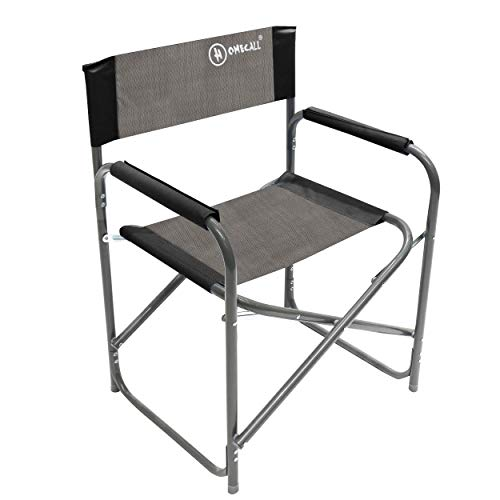 HOMECALL - Silla de director de cine plegable de aluminio y poliéster 600D, negro/gris
