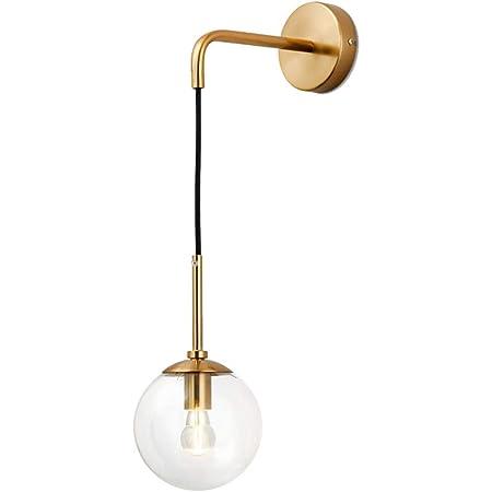 I-xun Applique murale boule de verre Lampes murales en laiton E27 Douille Goutte Abat-jour luminaire Veilleuse pour le salon, la chambre à coucher (Clair, 15cm)