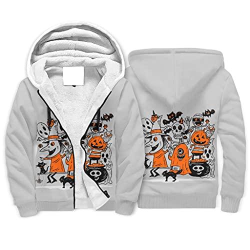 Gamoii Sudadera con capucha para nios grande Sherpa Lined, para Halloween, dibujos animados, monstruos, espritu y calabaza, impresin 3D, sudadera con capucha, chaqueta de invierno con cremallera
