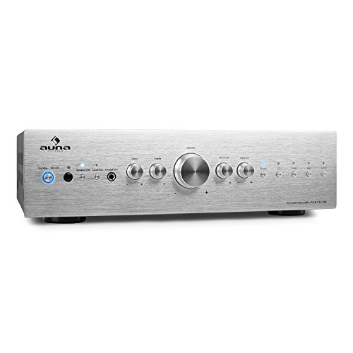 AUNA CD708 - Amplificador estéreo HiFi, Amplificador de Audio, Potencia máx. 600 W, Terminales de Abrazadera, 5 entradas de línea RCA , Ecualizador de 3 Bandas , Plateado