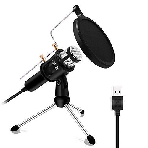 Mikrofon Yuan Ou Professioneller Mikrofonkondensator für Computer Laptop PC USB-Stecker Studio Podcasting Aufnahme Karaoke Mic Silver