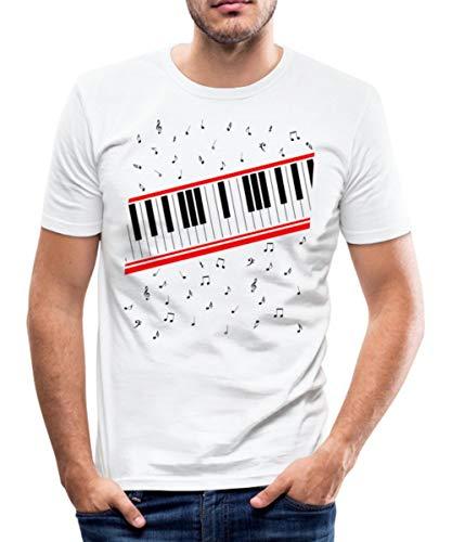 Piano Klavier Noten Beat It Männer Slim Fit T-Shirt, XL, Weiß