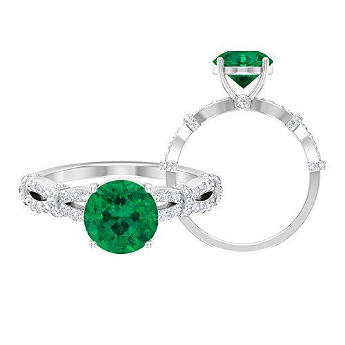 Anillo de compromiso de diamante HI-SI de 2,61 quilates con turmalina verde, anillo de compromiso con espiral de oro, anillo solitario con piedra lateral, 14K Oro blanco, Size:EU 51