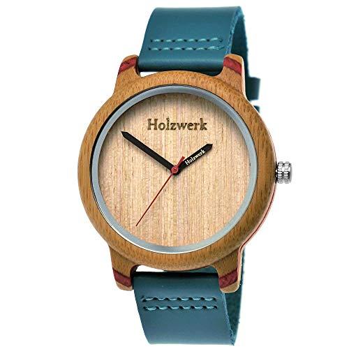 Handgefertigte Holzwerk Germany® Designer Damen-Uhr Herren-Uhr Öko Natur Holz-Uhr Leder Armband-Uhr Analog Klassisch Quarz-Uhr in Blau Türkis Rot Braun
