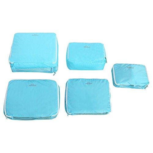 Fdit 5 Unids Bolsas de Almacenamiento de Viaje Equipaje Bolsas de Embalaje Cubos Organizadores Ropa Multifuncional Paquetes de Clasificación(Azul)