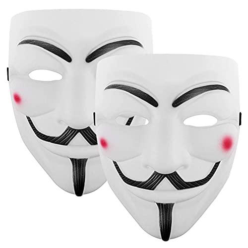 AYEUPZ Mscara de Halloween  2 pieza Mscara de Hacker para Fiesta de Halloween, fiesta de carnavalBlanco