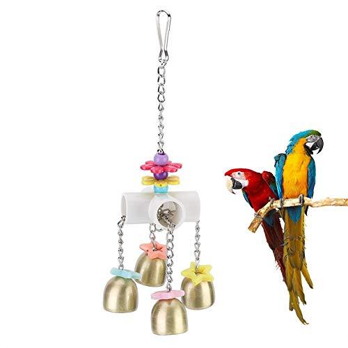 Pssopp Vögel kauen Spielzeug hängen Papageien schwingen Spielzeug Haustier Vögel beißen Spielzeug mit Edelstahl Glocken für Papagei Conure Nymphensittich Voliere Kakadu
