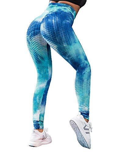 Voqeen Pantalones de Adelgazantes Mujer Leggins Reductores Adelgazantes Leggings de Yoga Tie-Dye Anticeluliticos Cintura Alta Mallas Fitness Push Up para Deporte Mallas (A - Azul & Azul, S)