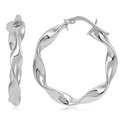 Córdoba Jewels   Pendientes en plata de ley 925 con diseño Aros Rizados Silver