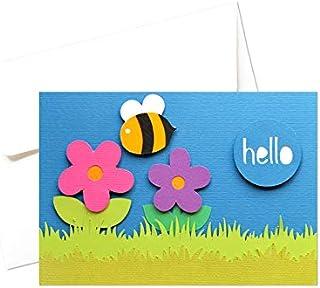 Hello - fiori - ape buffa - biglietto d'auguri (formato 10,5 x 15 cm) - vuoto all'interno, ideale per il tuo messaggio per...