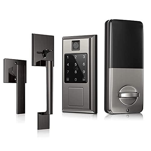 Oasbike Fingerprint Smart Door Lock with Bluetooth & Single Cylinder Handleset Front Door Handleset