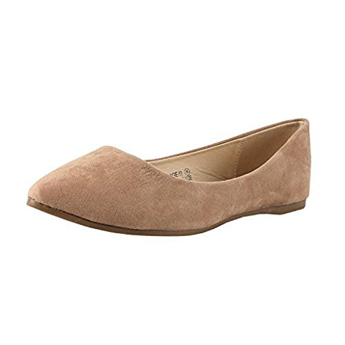 Bella Marie Womens Classic Pointy Toe Ballet Slip On Flats-Shoes (8.5, Taupe)