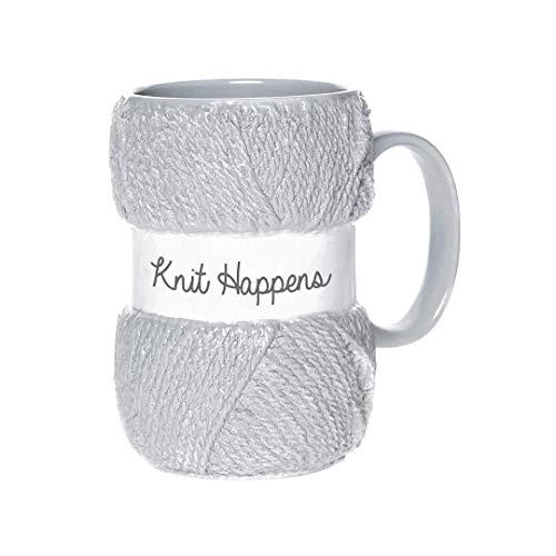 """Boxer Gifts Tasse mit Aufschrift """"Knit Happens"""", hellblaue Farbe mit realistischen Garn-Details, tolles Geschenk für Weihnachten, Geburtstag oder Muttertag"""