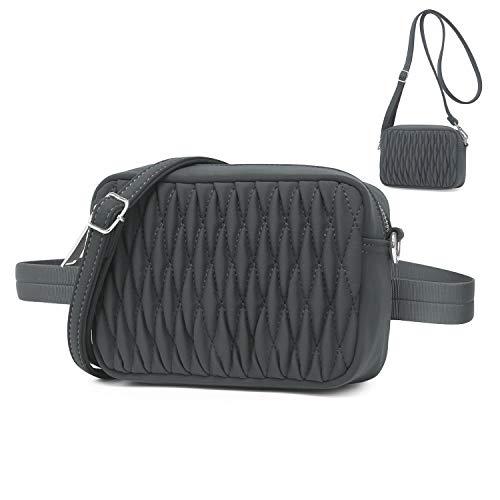 Wind Took Mode Umhängetasche Bauchtasche 2 in 1 Damen Klein Tasche Gürteltasche Schultertasche Handtasche für Reisen Partys Sports Grau