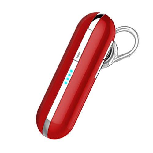 Wsaman Auriculares Impermeables en la Oreja, Auriculares Inalambricos Deportivos con Cancelación de Ruido,para Trabajo y Deportes Viaje, Auriculares In-Ear,Rojo