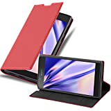 Cadorabo Hülle für Sony Xperia L1 in Apfel ROT - Handyhülle mit Magnetverschluss, Standfunktion & Kartenfach - Hülle Cover Schutzhülle Etui Tasche Book Klapp Style